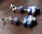 Denim Blue Flower Dangle Earrings - Spring Summer Jewelry Casual Girls Gifts