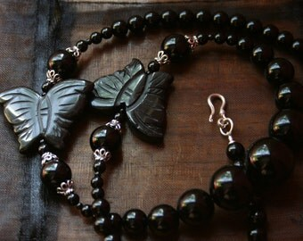 Black Butterfly Necklace and Earrings - High Fashion, Glamorous Sterling Silver Bali Statement Jewellery Set