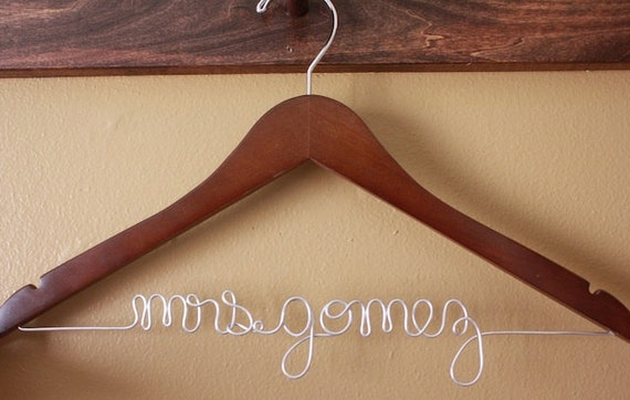 Personalized Bridal WALNUT Hanger for Brides and Bridesmaids