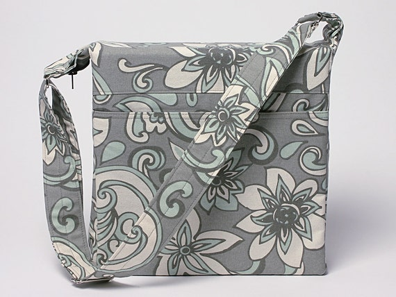3 Inch Binder Cover With Zipper and Adjustable Strap-Light Gray/ Pale Tiffany Blue Floral