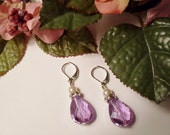 Pale Lavender Pear-shaped Crystal Earrings