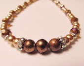 Antique Ivory Pearl and Amber Crystal Necklace with Brown Focal Beads - with Matching Bracelet  :-)