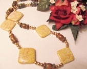 Peach Marble Beads Necklace - Long