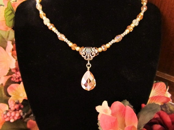 Pretty in Pink - Pink Crystal Pendant on Crystal and Pearl Necklace - Christmas Special