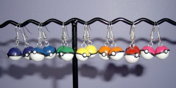 Any Color Pokeball Polymer Clay Earrings