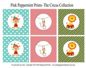 NEW INSTANT DOWNLOAD The Circus Big Top Printable Party Collection 3 inch Party Tags
