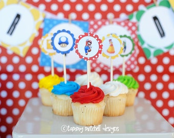 """NEW INSTANT DOWNLOAD  The Super Mario Collection 2"""" Party Printable circle tags 1 cupcake toppers etc."""
