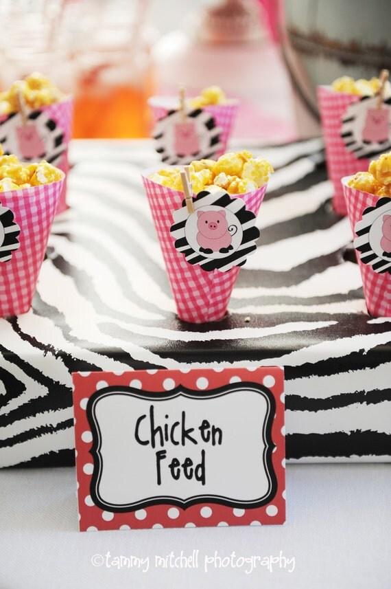 The Old McDonald Glam Farm Barnyard Birthday Collection PRINTABLE Party Circles