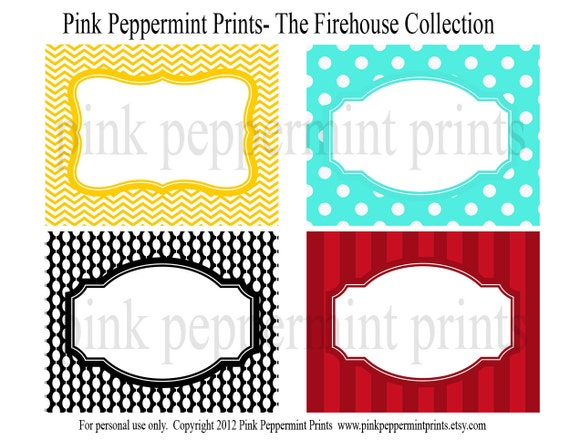 NEW INSTANT DOWNLOAD  Printable Party Labels- The Firetruck Firehouse Party Collection