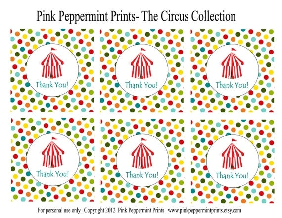 NEW INSTANT DOWNLOAD The Circus Big Top Printable Party Collection 3 inch Party Favor Thank You Tags