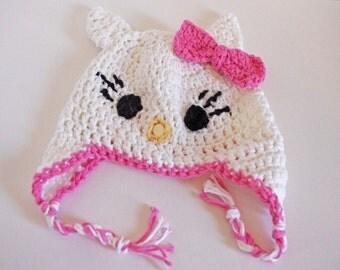 Crochet Baby Earflap Cap  -Crochet Cat Hat - 100% Cotton Beanie - Hat - White - Pink