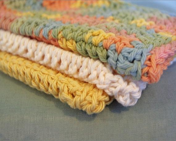Crochet Dishcloths - 100% Cotton - Set of 3 - Kitchen - Gift For Mom