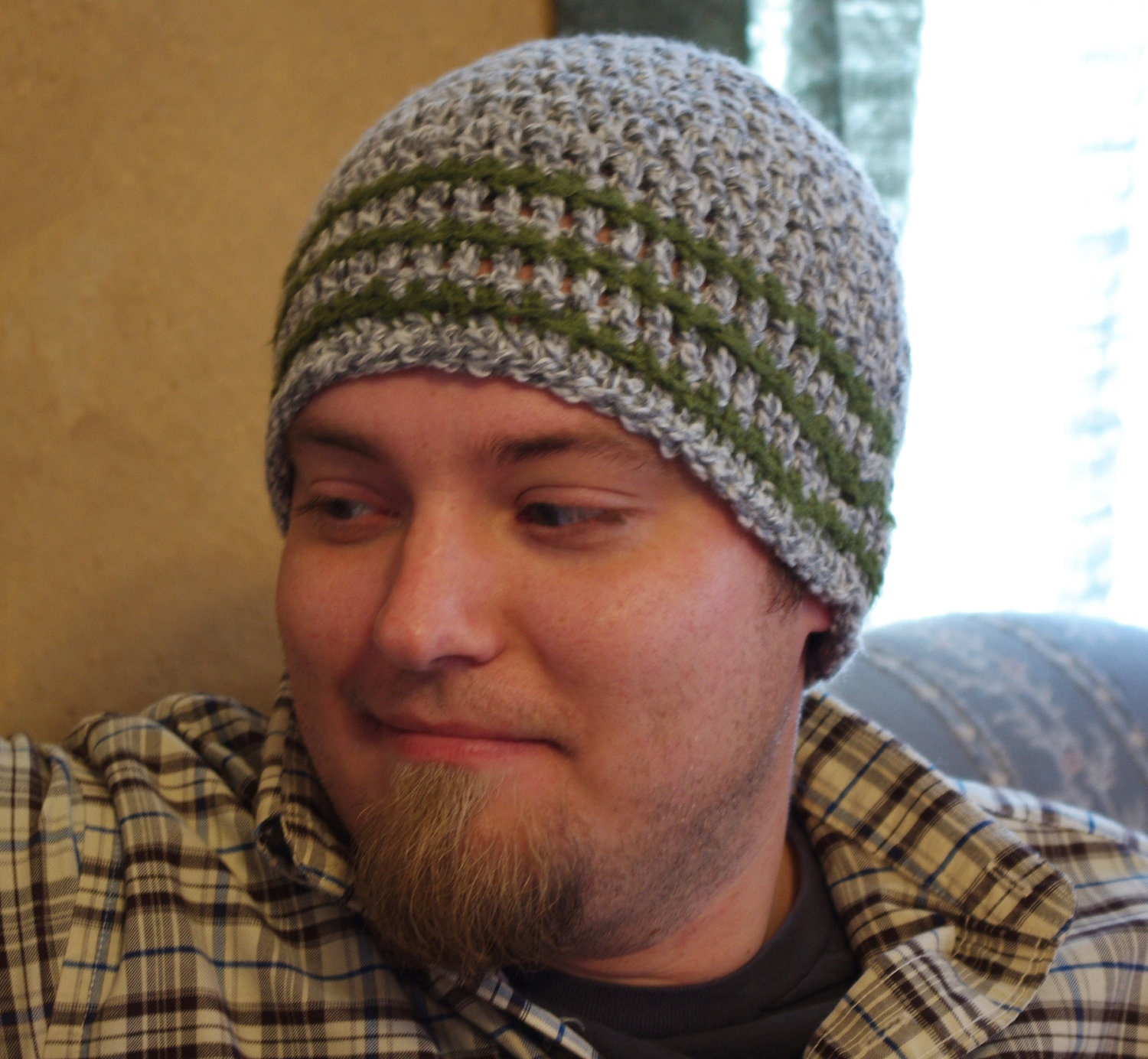CUSTOM FOR BEN Crochet Beanie Hat Skullcap Mens
