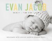 custom baby boy or girl photo birth announcement - pastel chic II