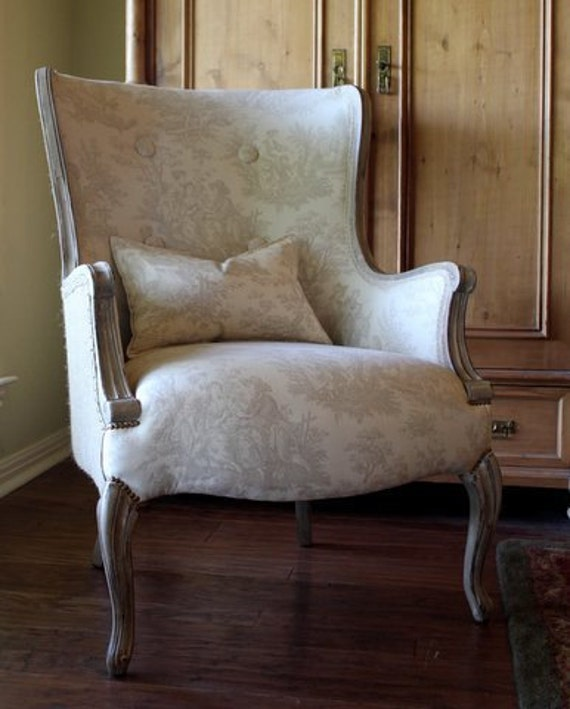 French Toile Upholstered Chair