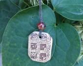Garden Trellis - Artisan Glazed Ceramic Pendant on Natural Hemp