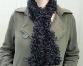Hand Knit Midnight Black Ruffles Scarf