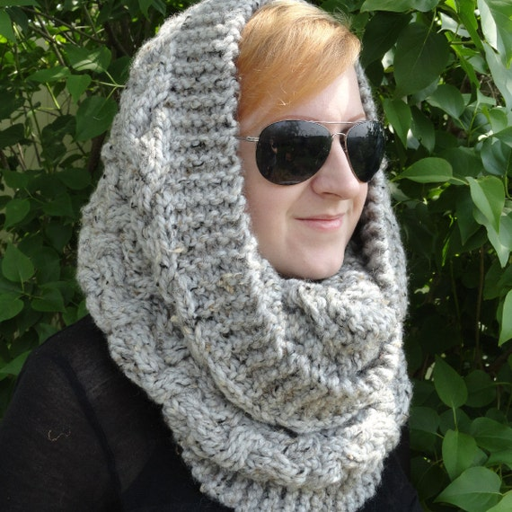 Hand Knit Grey Marble Lambswool and Acrylic Blend Snood