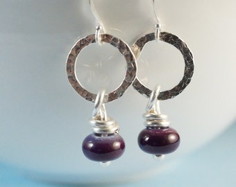 Silver Hoop Earrings with Purple Glass Beads - small