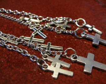 Multi Cross Silver Chain Earrings