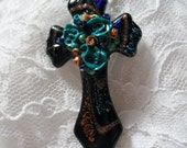 Celtic Cross Enhenced with a Turquoise Rose Bouquet