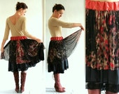Layered slip-in skirt in black brown and red mesh - animal print - medium size US 8 - READY to SHIP