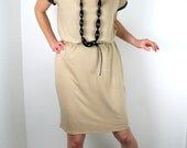 Summer beige dress - nude cotton jersey dress with black polka dots - knee length - only one piece - size S/M US 6/8 - by Bartinki