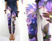 Purple flower leggings  - multicolor print - purple pink white blue  green - size small/medium US 6/8 S/M - ready to ship - by Bartinki