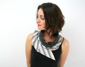 RESERVED Upcycled silk collar - zipper collar - unique piece - stripes and faux leather - one size