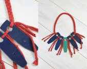 TRIBAL leather necklace - blue green red - braided with fringe - upcycled materials - eco friendly ethnical chic - by Bartinki
