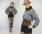 Cropped gray jacket with olive green collar and cuffs - asymmetric unique - upcycled - long sleeves - size XS/S US 4/6 extra small/small