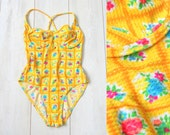 Neon yellow swimsuit with multicolor floral pattern - vintage vtg find from early 90s