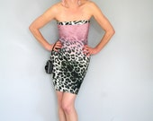 Super hot mini dress in animal print in pink and green - strapless slip in tube dress - only one piece - safari inspired summer fashion