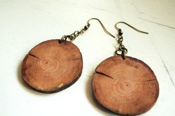 Wooden Earrings Birch Wood And Antique Brass Ooak Large