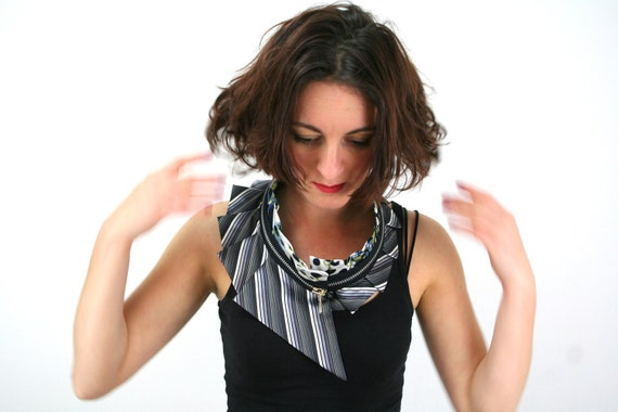 Bold statement collar necklace, silk and zipper collar, upcycled silk and satin, unique neckwear, blue lime green grey black white