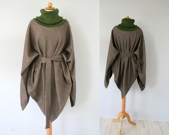 Spring wool poncho with brown stripes and green cotton knit collar - more ways of wearing - by Bartinki