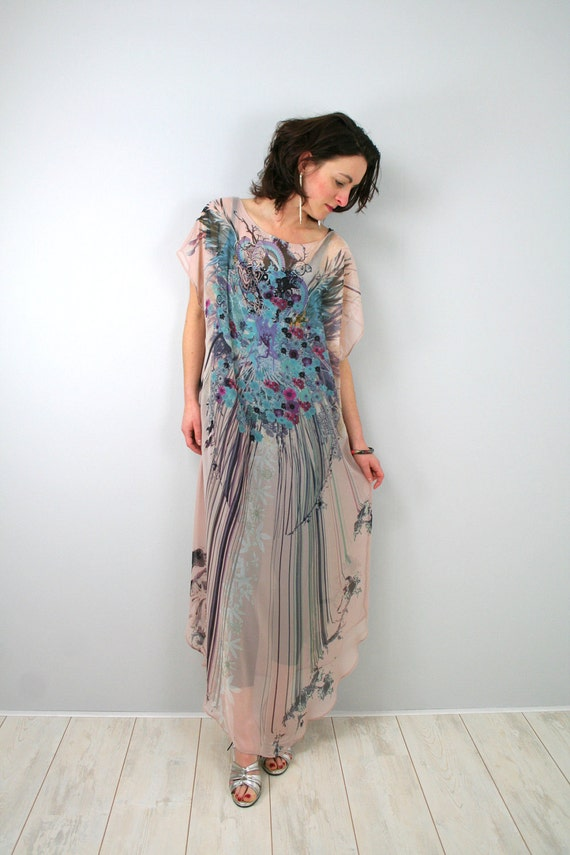Chiffon maxi dress with unique flower/peacock multicolor print on pale pink - by Bartinki