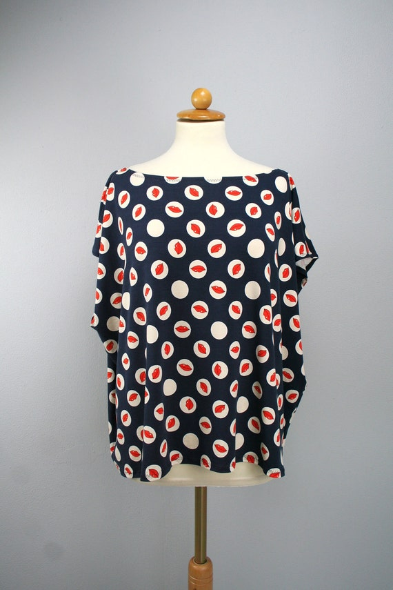 SALE MOD box tshirt in dark blue red and white print - one size fits most - only one piece - clearance sale
