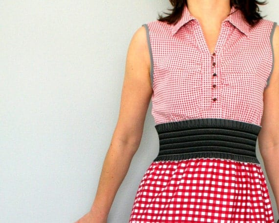Checked cotton dress in red and white - vintage inspired women's dress - upcycled OOAK - size small/medium US 6/8