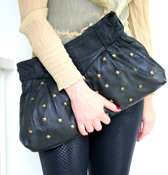 Oversized clutch - studded leather handbag - comes with detachable chain stripe - black leather bag