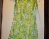 UpCycled Vintage Pillowcase Dress With Yo-Yo Flowers Green, Yellow, White Floral with Green Ribbon