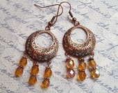 Copper Chandeliers w/Firepolished HoneyGold Crystals