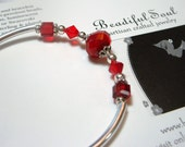 Ruby Red Bangle Bracelet with Memory Wire & Red Crystals