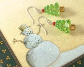 Swarovski Peridot Christmas Tree Earrings with Sterling Silver Ear Wires
