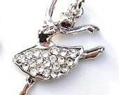 10pc Ballet Ballerina Crystal Rhinestone Silver Plated Charm (Clear)