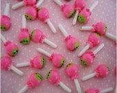 20pcs Flatback Resin Miniature- Mini Pink Lollipop Candy