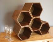 drona - large hexagonal wine rack in walnut (35 bottles)