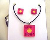 Softball Mom Pendant & Earring Set