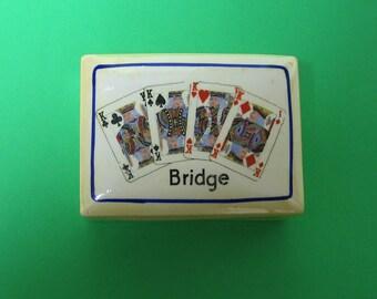 Czech Pottery Bridge Card Box - PRICE REDUCED.