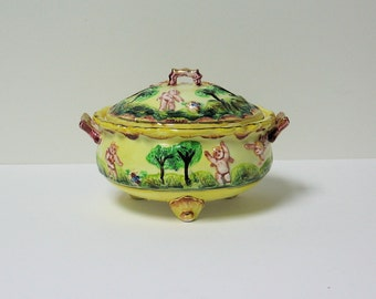 Occupied Japan Trinket Box with Cupid Motif - PRICE REDUCED